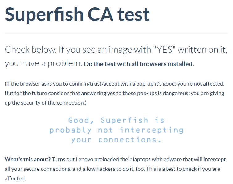 Superfish_CheckingResult